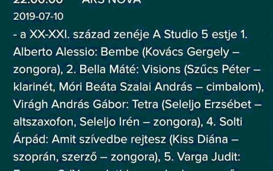 Studio 5 - Ars Nova, 2019. 07. 10.